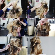 Fun how-to for fun short hair styles. ^.^  Half up do final product