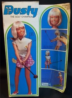 Kenner's Dusty the Golf Champion doll from 1974.  Dusty was less a fashion doll and more meant to be a girl's athletic friend.  Released as Jenny in Australia as a career flight attendant, she for a time in the 1970s outsold Mattel's Barbie on the Australian market.