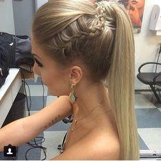 Straight ponytail with braid Nail Design, Nail Art, Nail Salon, Irvine, Newport Beach Dance Hairstyles, Homecoming Hairstyles, Braided Hairstyles, Wedding Hairstyles, Straight Hairstyles For Prom, Straight Prom Hair, Prom Ponytail Hairstyles, Fast Hairstyles, Hairstyles 2018