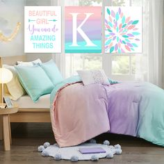 Tween Girl Bedroom Decor, Inspiring Quotes for Girl Room Decor, Teen Girl Room Decor, Ombre Wall Art for Girls, Set of 3 Prints or Canvas Unicorn Rooms, Unicorn Art, Girl Room, Girls Bedroom, Bedroom Decor, Family Wall Art, Rainbow Decorations, Rainbow Print, Tween Girls