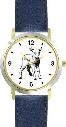 Lamb Animal - WATCHBUDDY® DELUXE TWO-TONE THEME WATCH - Arabic Numbers - Blue Leather Strap-Size-Children's Size-Small ( Boy's Size & Girl's Size ) WatchBuddy. $49.95