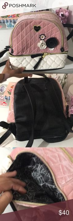 Betsey Johnson backpack Gorgeous velvet backpack with little round studs on the quilted leather material. No damage or smells . Like new condition Betsey Johnson Bags Backpacks