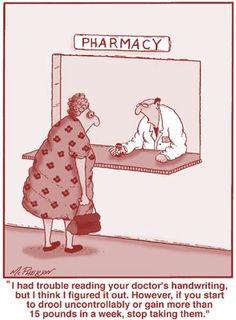 Far Side Pharmacy Humor Pharmacy Meme, Pharmacy Technician, Pharmacy Quotes, Job Humor, Tech Humor, Ecards Humor, Medical Humor, Nurse Humor, Doctor Jokes