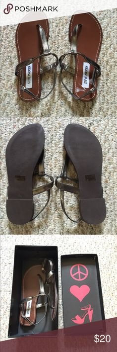 Steve Madden Sandals Cute brown and pewter sandals, never worn! I'm a usually a 6.5 or a 7, these are a size 6 and are just a bit too snug for me. Hoping someone can finally get some use out of these cuties! 😊 Steve Madden Shoes Sandals