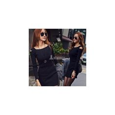 2014 New Women Sexy Open Shoulder Long Sleeve BodyCon Package Hip Bag... (31 HKD) via Polyvore