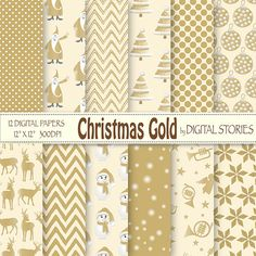 Christmas Digital Paper CHRISTMAS GOLD Scrapbook by DigitalStories, €2.60