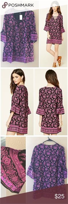 """Bell sleeve floral dress A Woven Dress Featuring An Allover Floral Print, Lace-Up Neckline, 3/4 Bell Sleeves With Crochet Trim, And A Shift Silhouette. Lined, polyester and rayon. Runs true to size. Bust 38"""", length 33"""". ❌no trades Forever 21 Dresses"""