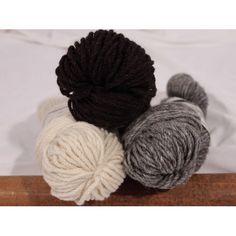 custom woolen mills - mule spinner 3-ply wool - skeins : fisherman-knit or aran-wt . natural white / medium grey / black