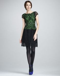 $448. better with longer sleeves? longer skirt? Colorblock Lace Dress by Nanette Lepore at Bergdorf Goodman.