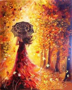 DIY-PAINT BY NUMBERS-WOMAN IN AUTUMN LANDSCAPE #OilPaintingFashion #OilPaintingPeople