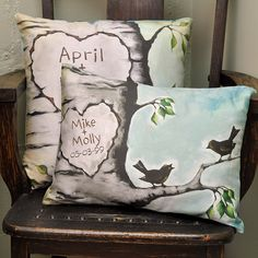 Cotton Anniversary Gift Wife - Personalized Wedding Gift - Choose Names and Eggs - 12 x 16 Inches - Cotton Sateen Decorative Pillow