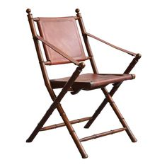French Campaign chair with leather seat and back dating from the late century.Offered by Neal Beckstedt Folding Furniture, Antique Furniture, Furniture Styles, Modern Furniture, Campaign Furniture, Steampunk House, Fancy Houses, French Chairs, Outdoor Chairs