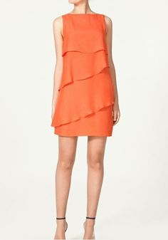 Orange Falbala Round Neck Mini Chiffon Dress for Rachel's wedding Pretty Outfits, Cute Outfits, Dress Cake, Dress Brands, Chiffon Dress, Dress Collection, Dress To Impress, Beautiful Dresses, Layering