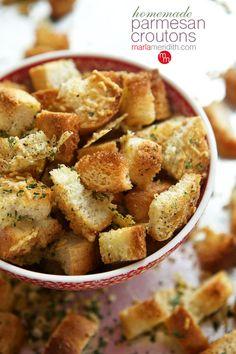 Homemade Parmesan Croutons | MarlaMeridith.com