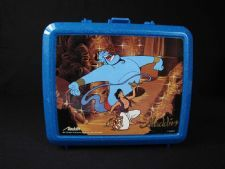 """""""Aladdin"""" Lunch Box: Concerned mothers feared metal lunch boxes could be used as playground weapons, so metal boxes stopped being manufactured in 1985. As such, this box was made from plastic, and its image is papered on."""