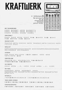 "A User's Guide to Kraftwerk's ""Pocket Calculator"""