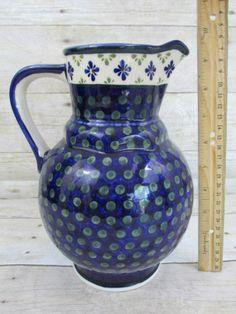 """Polish Pottery LG Pitcher vase 9.5"""" green dots blue flowers Boleslawiec Poland"""