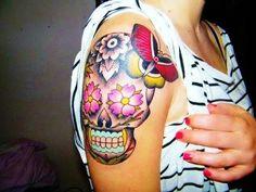 pretty skull tattoo