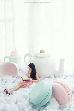 huge oversized macaroons and teapot for a fun pastel tea party, alice in wonderland celebration or stage background party decorations Photo Zone, Fantasy Photography, Heart Photography, Wedding Photography And Videography, Pastel Colors, Pastels, Photo Booth, Bali, Backdrops