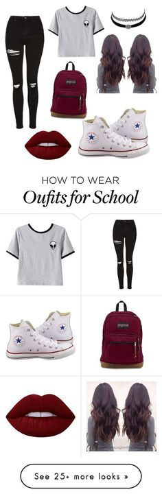 outfit for school by pxrlx on Polyvore featuring Converse, Chicnova Fashion, Topshop, Charlotte Russe and Lime Crime: