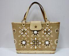 Vintage Enid Collins Milles Fleurs Cavas Bucket Jeweled Handbag