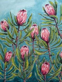 Pink Protea Painting Archival Wall Art Print Illustration Australian Native art prints Pink Protea P Flor Protea, Protea Art, Protea Flower, Fruits Drawing, Plant Drawing, Drawing Flowers, Painting Flowers, Fabric Painting, Drawing Art