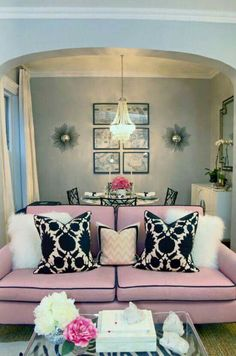 Chic City Living Room Design With Gray Walls, Pink Sofa With Black Piping,  Pink U0026 Black Thomas Paul Flock Pillows, White Shag Pillows, Peekaboo  Acrylic ... Part 49