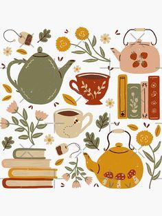 Art And Illustration, Tea Art, Journal Stickers, Canvas Prints, Art Prints, Art Inspo, Art Drawings, Doodles, Artsy