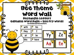 Here are some Bee Theme Word Wall Letters (rectangle)  to go with your Bee Theme Classroom.  All consonant letters are in black. I made vowels in black and red.  The first 120 Fry Words are also included!!  Print Preview to see exactly what it looks likeThere is an editable page for you to add any other words that you like to your word wall.