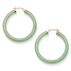 Shop for Genuine Green Jade Yellow Gold Hoop Earrings Naturalist. Get free delivery On EVERYTHING* Overstock - Your Online Jewelry Destination! Emerald Green Earrings, Fancy Earrings, Jade Jewelry, Emerald Earrings, Gold Hoop Earrings, Gold Hoops, Gemstone Earrings, Jewelry Box, Pierced Earrings