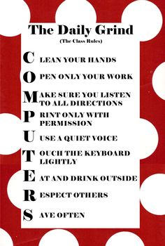 The rules for the computer lab. I'll edit this a little and display in the computer lab. Computer Lab Rules, Computer Lab Decor, Computer Lab Lessons, Computer Lab Classroom, Computer Teacher, Technology Lessons, The Computer, Teaching Technology, Computer Technology