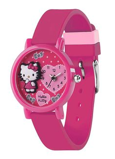 dbd0e7293 The case of this watch surrounds a pale pink dial which features a 3D Hello  Kitty figure, glitter finish flowers and a mini watch movement.
