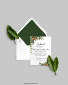 Fall Rehearsal Dinner Printable Template Greenery Citrus image 1