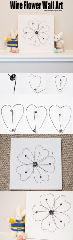 Create new art for springtime with DIY Wire Flower Wall Decor | Tutorial by A Pop of Red