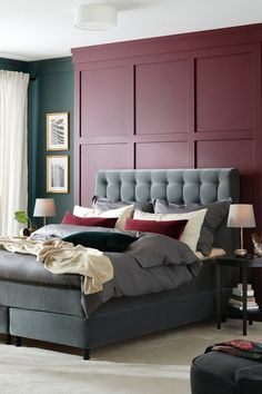 Elegant bedroom in shades of green - ikea germany. Lit Simple, Ikea Family, Sofa, Couch, Shades Of Green, Home Accessories, Master Bedroom, Living Spaces, Sweet Home