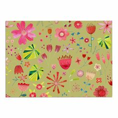 KESS InHouse Nic Squirrell 'Wild Meadow' Olive/Pink/Floral/Digital, Illistration, Red Dog Place Mat, 13' x 18' -- See this great image  (This is an amazon affiliate link. I may earn commission from it)