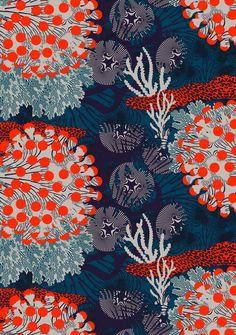 Graphic Design - Pattern Design - Tissus Marimekko Merivuokko Pattern Design : – Picture : – Description Tissus Marimekko Merivuokko -Read More – Motifs Textiles, Textile Patterns, Print Patterns, Surface Pattern Design, Pattern Art, India Pattern, Coral Pattern, Pattern Fabric, Marimekko Fabric