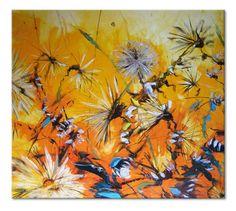 "Solar wind - impressionism ORIGINAL large 35"" Floral oil Painting dandelions Textured Palette Knife by SOLOMOON dandelion flower flowers"