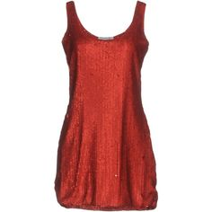 Angela Mele Milano Short Dress ($130) ❤ liked on Polyvore featuring dresses, red, sequin embellished dress, short dresses, mini dress, sequin mini dress and sleeveless dress