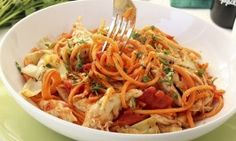 Tomato Sweet Potato Noodles with Roasted Artichokes and Chicken Recipe - The Lemon Bowl
