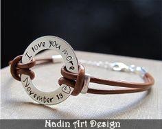 Einstellbares Leder-Armband für Männer. Herren von NadinArtDesign auf DaWanda.com