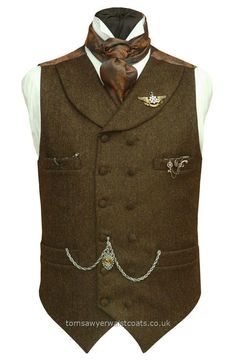 49aa5b585e2 TRUFFLE BROWN STEAMPUNK High Neck Double-Breasted Waistcoat With Shawl  Collar - Traditional Waistcoats Online