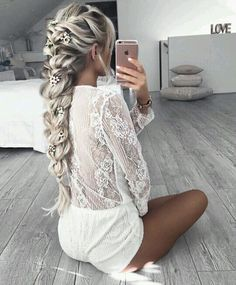hair, hairstyle, and braid εικόνα
