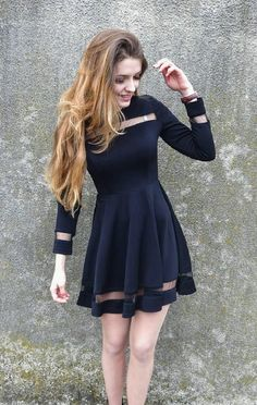 Pretty look by Evelyn Schmid who is wearing her black mesh panel skater dress. #LBSDaily