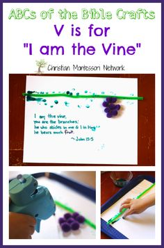 A beautiful mixed-media picture gift for V is for the Vine craft. This is part of the ABCs of the Bible Craft Series. - www.christianmontessorinetwork.com