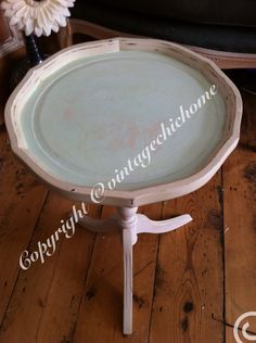 Shabby chic Ornate round side table with scalloped tray duckegg blue top and cream pedestal legs . Round Side Table, Round Coffee Table, My Furniture, Painted Furniture, Drum Table, Bedside Tables, Scalloped Edge, Paint Ideas, Pedestal