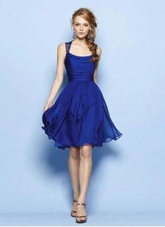 A-Line/Princess Square Neckline Knee-Length Lace 30D Chiffon Evening Dress With Ruffle