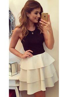 Black Color Block Cascading Ruffle Cross Back Sleeveless Dress - Mini Dresses - Dresses