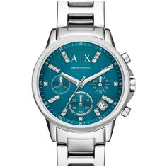 AX Armani Exchange Chronograph Bracelet Watch, 36mm ($180) ❤ liked on Polyvore featuring jewelry, watches, crystal jewelry, crystal bracelet watch, armani exchange, bracelet watch and polish jewelry