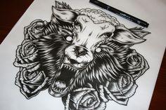 'Wolf In Sheeps Clothing' illustration - John Hobbs Wolf Tattoos, Animal Tattoos, Tatoos, Celtic Tattoos, Star Tattoos, Unique Tattoos, Beautiful Tattoos, Sheep Tattoo, Wolf Skull